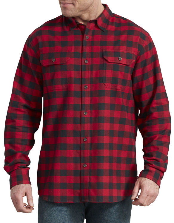 FLEX Long Sleeve Flannel Shirt - Red Black Buffalo Plaid (WEK)