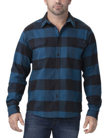 FLEX Long Sleeve Flannel Shirt - Storm Blue Black Buffalo Plaid (LFP)