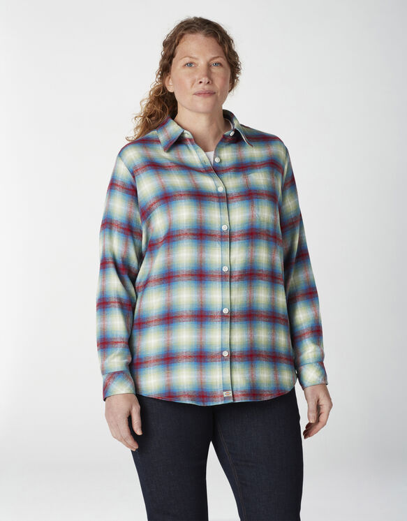Women's Plus Long Sleeve Plaid Flannel Shirt - Ombre Red Blue (EP2)