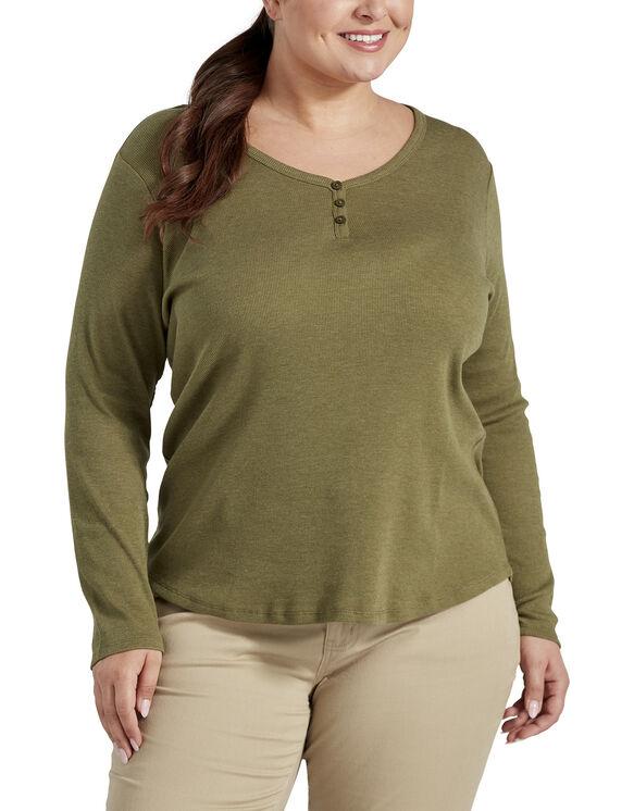 Haut henley taille plus à manches longues pour femmes - Olive (UOD)