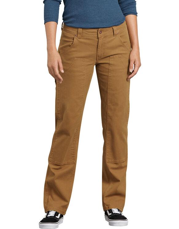 Pantalon menuisier extensible en coutil doublé à l'avant - Brun rincé (RBD)