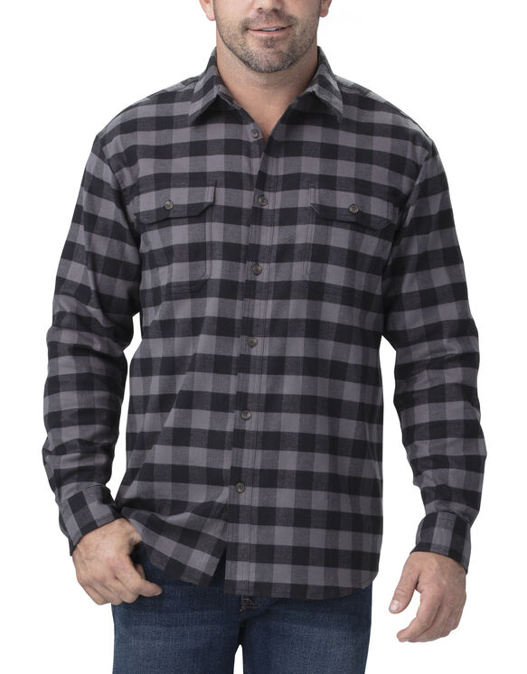 FLEX Long Sleeve Flannel Shirt - Slate Black Buffalo Plaid (SKC)