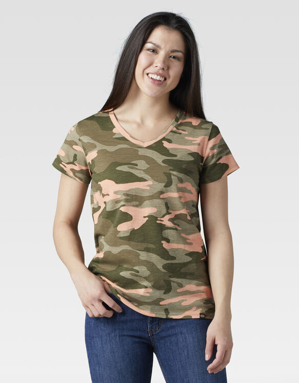 Women's Short Sleeve V-Neck T-Shirt - Peach Camo (EAC)
