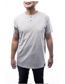 Men's Short Sleeve Henley Tee - HEATHER GRAY (HG)