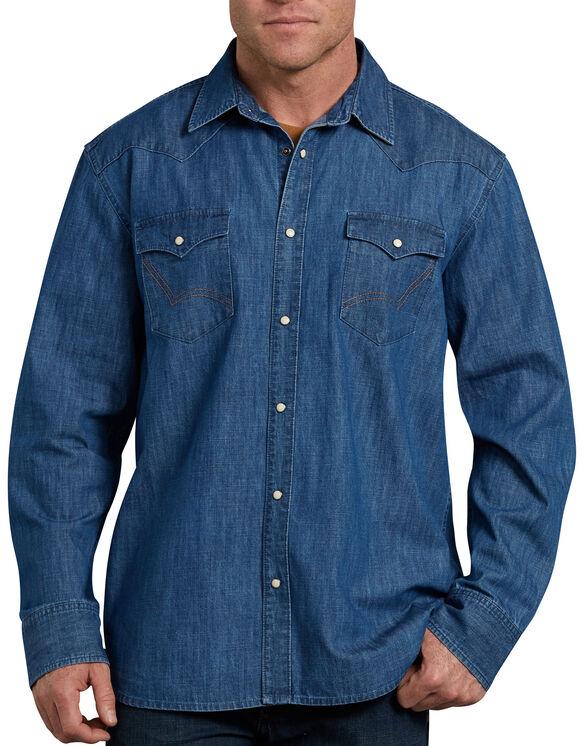 Relaxed Fit Icon Long Sleeve Denim Western Shirt - Stonewashed Indigo Blue (SNB)