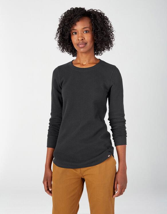 Women's Long Sleeve Crew Neck Thermal Shirt - Black (KBK)