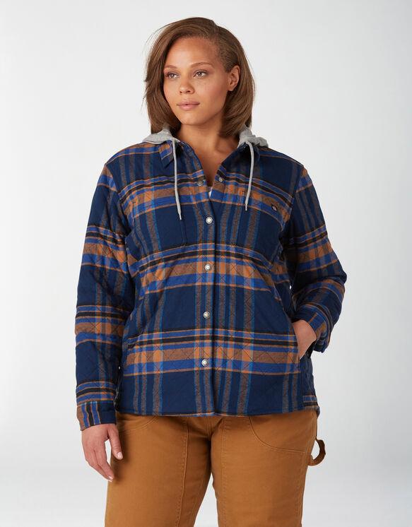 Veste-chemise à capuchon en flanelle taille plus pour femmes - Deep Blue (OP2)
