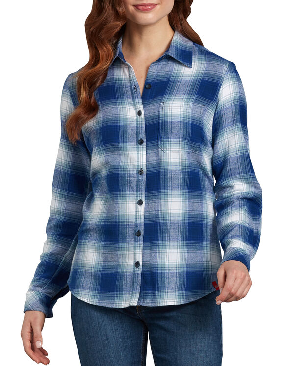 Women's Long Sleeve Plaid Shirt - Blue White Plaid (CUQ)