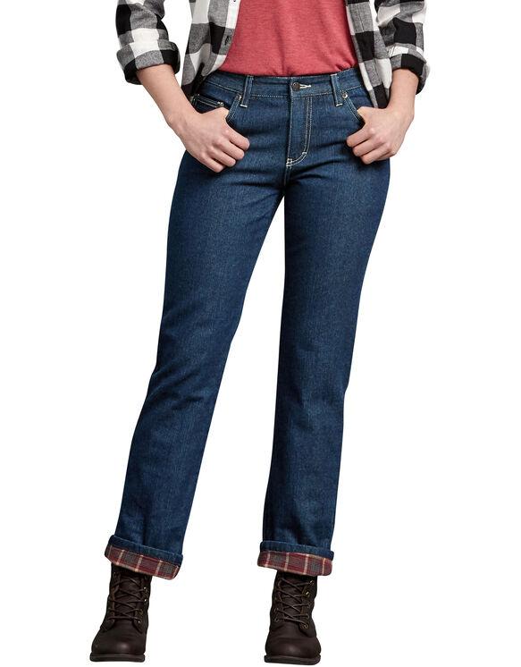 Jeans décontracté à jambe droite doublé de flanelle pour femmes - Stonewashed Vintage Blue (SVB)