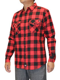 Men's Flannel Long Sleeve Woven Plaid Shirt - BLACK/ENGLISH RED (BKER)