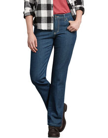 Women's Relaxed Fit Straight Leg Flannel Lined Denim Jeans - Stonewashed Vintage Blue (SVB)