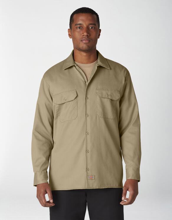 Chemise a manches longues chemise de travail devant solides - Military Khaki (KH)