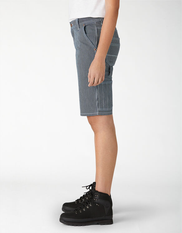 Women's Hickory Striped Carpenter Shorts - Blue White Hickory Stripe (RHS)