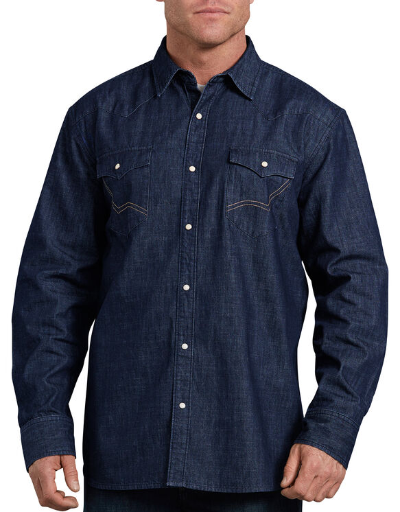 Relaxed Fit Icon Long Sleeve Denim Western Shirt - Rinsed Indigo Blue (RNB)