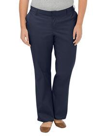 Pantalon sans plis de première qualité à jambe droite et coupe décontractée pour femmes (Plus) - marine foncé (DN)