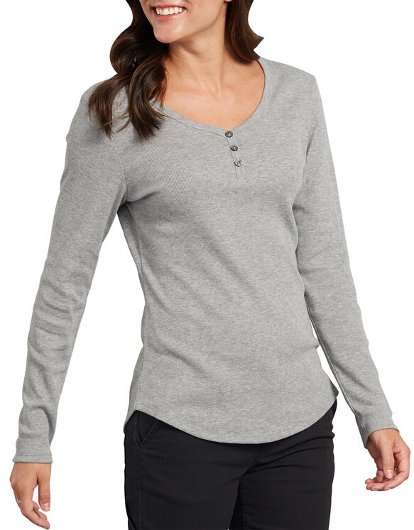 Women's Long Sleeve Henley Shirt - Graphite Gray (GAD)