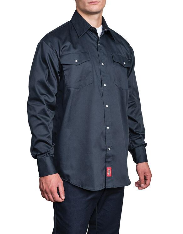 Chemise à manches longues avec fermeture à bouton  - marine foncé (DN)