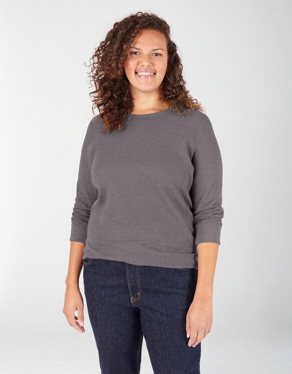 Chandail isotherme taille plus à manches longues et à encolure ras du cou pour femmes - Graphite Gray (GAD)