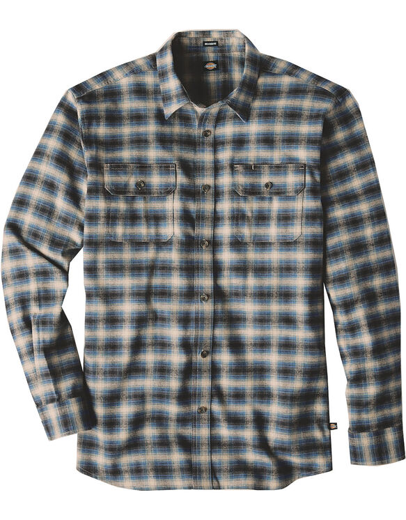 Relaxed Fit Icon Long Sleeve Flannel Shirt - BLUE SUEDE OMBRE PLAID (WDO)