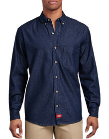 Long Sleeve Button-Down Denim Shirt - Rinsed Indigo Blue (RNB)