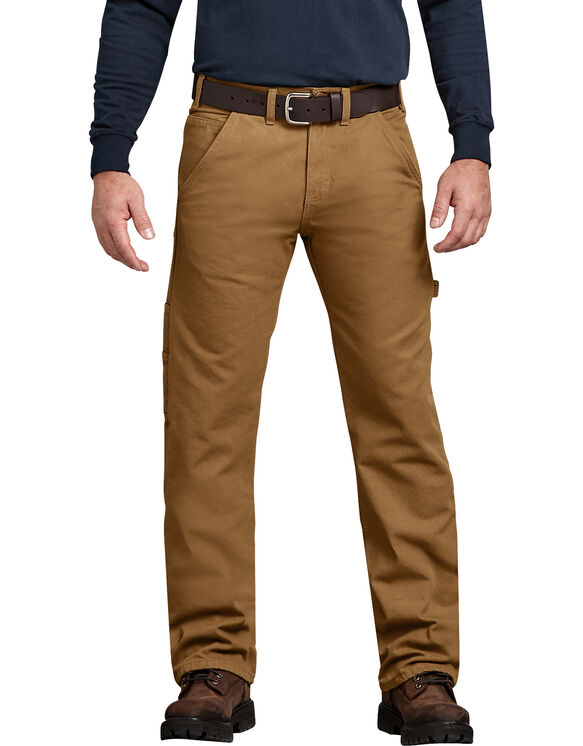 Relaxed Straight Fit Flannel-Lined Carpenter Duck Jeans - Brown Duck (RBD)