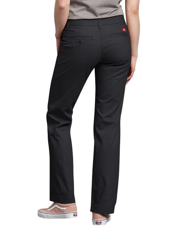 Pantalon droit décontracté en sergé extensible pour femmes - Black (BK)