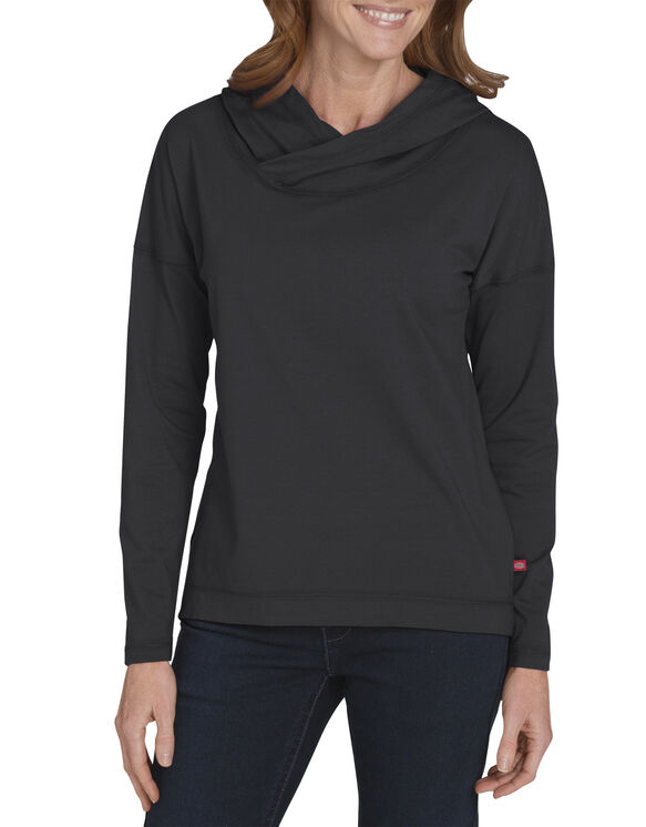 Women's Long Sleeve Knit Hoodie - BLACK/WHITE (BKWH)