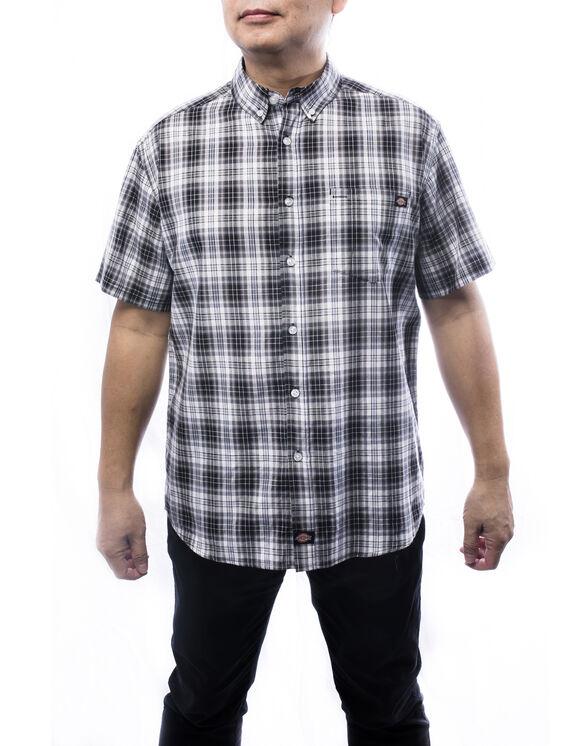 Chemise à manches courtes à motif tartan pour hommes - Noir (BLK)