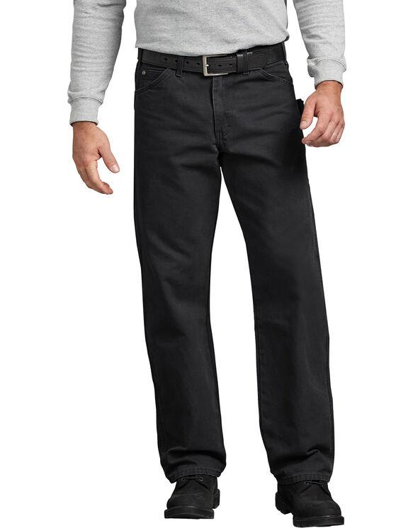 Jeans menuisier à jambe droite et coupe décontractée en coutil brossé - Rinsed Black (RBK)