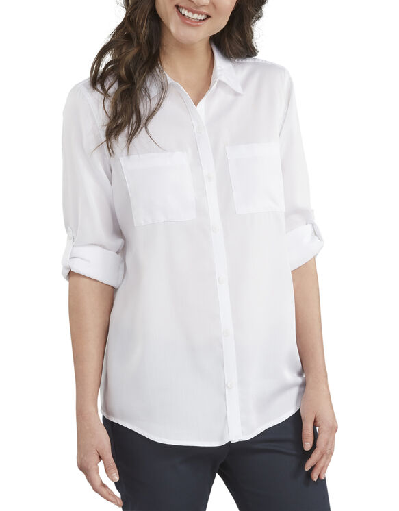 Women's Long Sleeve Button-Up Shirt - Rinsed White (RWH)