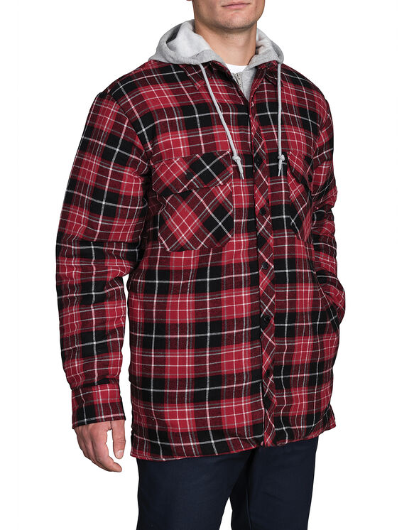 Quilted Faux Fleece Jacket - CANADA PLAID WHITE/RED F14M116 (R44)
