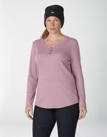 Women's Plus Long Sleeve Henley Shirt - Dusky Orchid (KDD)