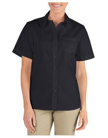 Women's Short Sleeve Stretch Poplin Shirt - Black (BK)