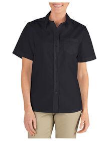 Chemise à manches courtes en popeline extensible pour femmes - Noir (BK)