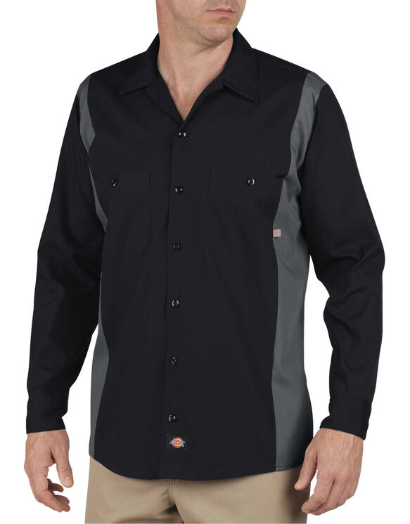 Chemise industrielle à bandes de couleur à manche longue - Noir/charbon (BKCH)