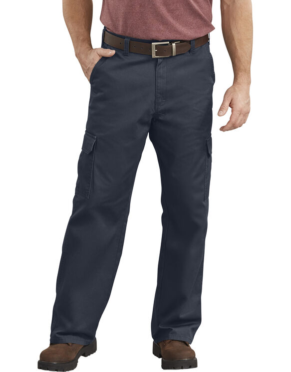 Loose Fit Straight Leg Cargo Pants - Marine foncé rincé (RDN)