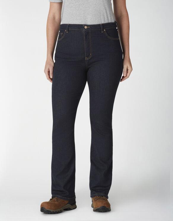Jeans à taille haute semi-évasée en denim Forme parfaite pour femmes taille plus - Rinsed Indigo Blue (RNB)