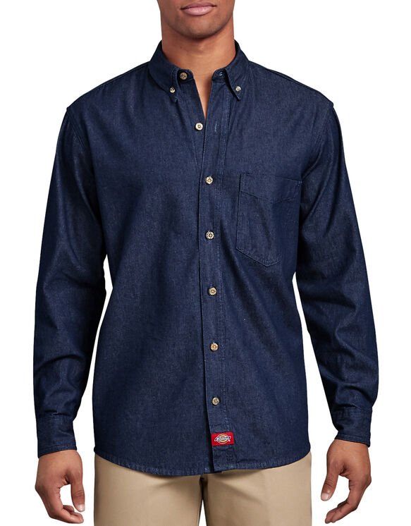 Long Sleeve Button-Down Denim Shirt - Rinsed Indigo Blue (RNB)