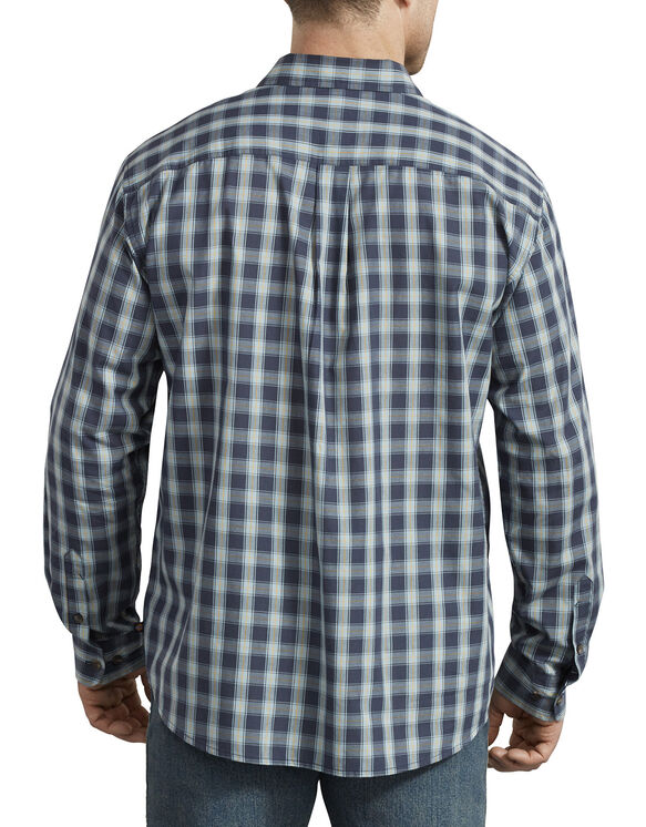 Relaxed Fit Icon Long Sleeve Rinsed Plaid Shirt - Dusty Blue Dark Navy Plaid (UVP)