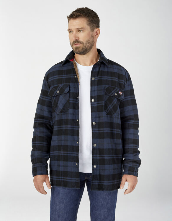 Sherpa Lined Flannel Shirt Jacket with Hydroshield - Ink Navy Plaid (OP1)