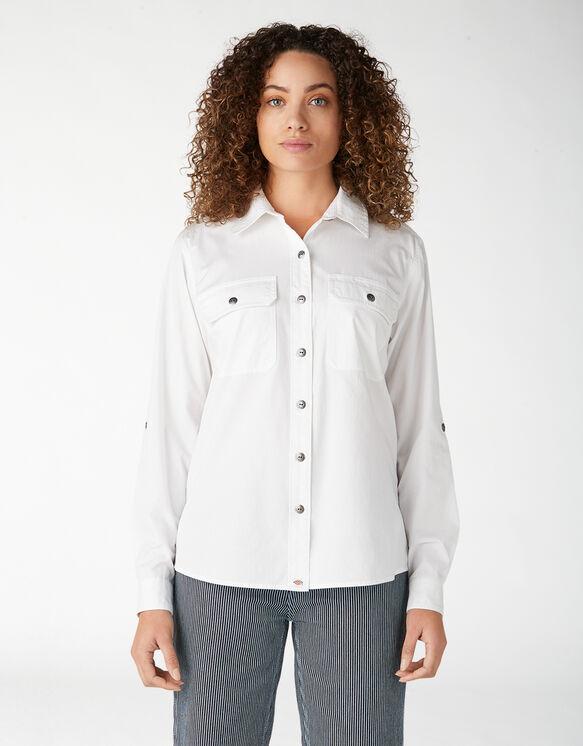 Chemise de travail à manches longues retroussables pour femmes - White (WH)