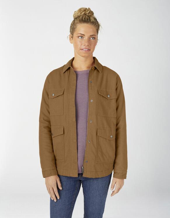 Manteau travailleur en coutil avec doublure en Sherpa pour femmes - Brown Duck (RBD)