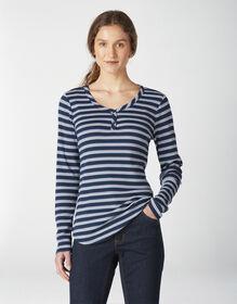 Haut henley à manches longues pour femmes - Ink Navy Stripe (ES2)