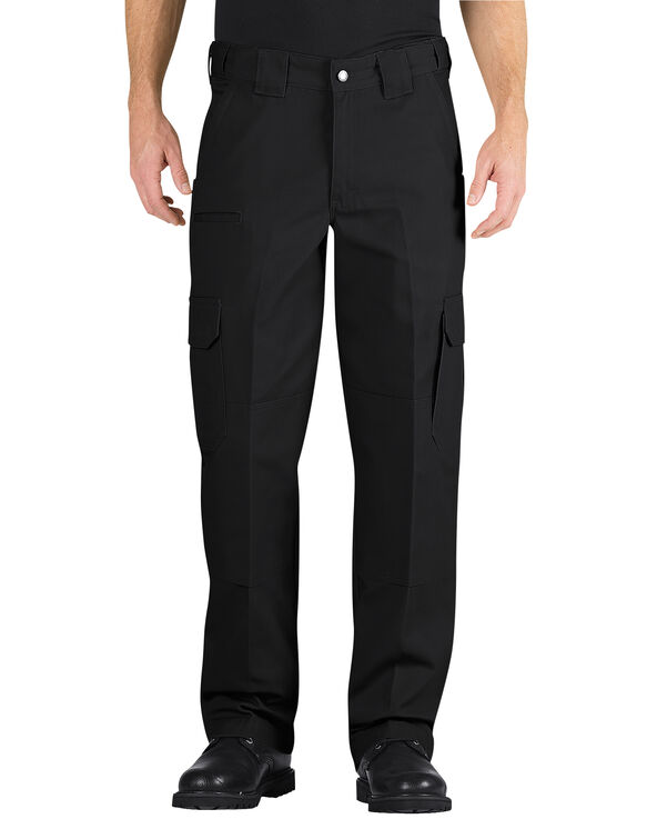 Tactical Relaxed Fit Straight Leg Canvas Pants - BLACK (BK)