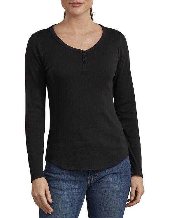 Haut henley à manches longues pour femmes - Black (KBK)