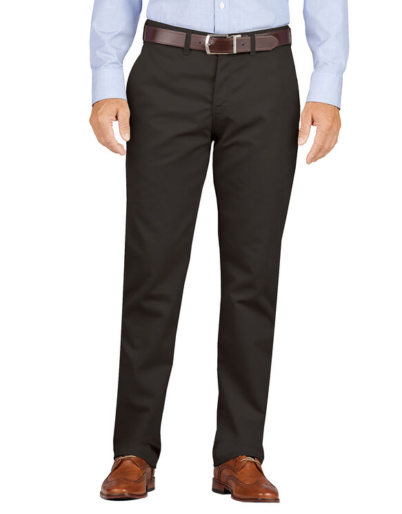 Slim Fit Tapered Leg Flat Front Khaki Pants - Rinsed Black (RBK)