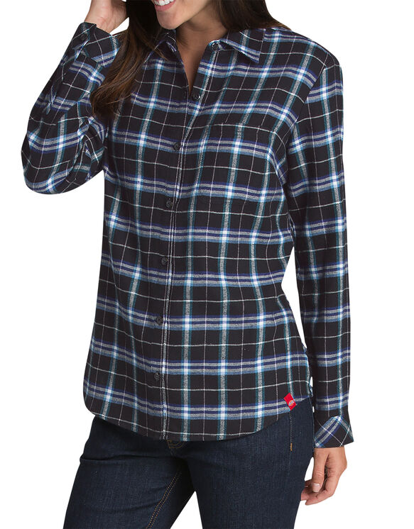 Women's Long Sleeve Plaid Flannel Shirt - Black White Plaid (QUP)