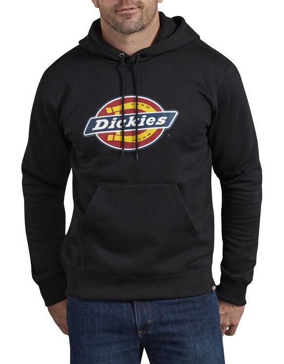 Relaxed Fit Logo Fleece Pullover Hoodie - Black (BK)