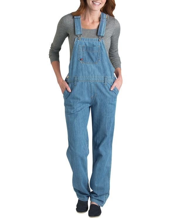 Women's Denim Bib Overall - Stonewashed Medium Blue (MSB)