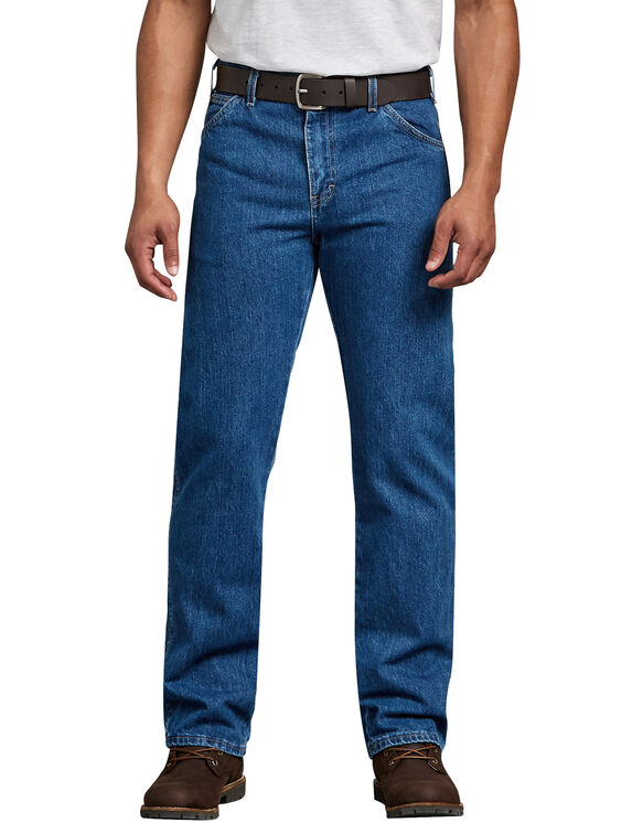 Regular Straight Fit 6-Pocket Denim Jeans - Stonewashed Indigo Blue (SNB)